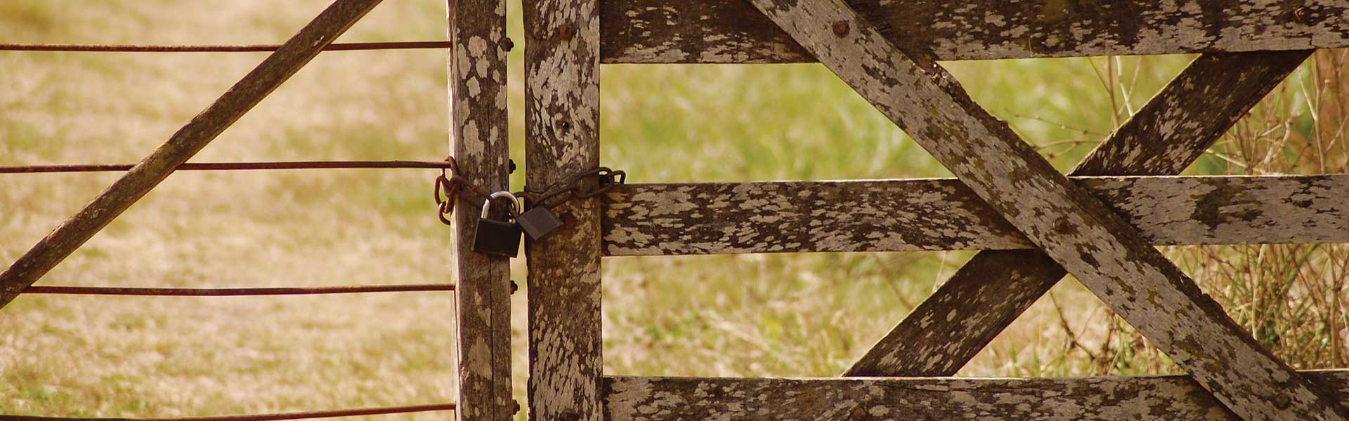 A short wooden gate is locked with a chain and two padlocks